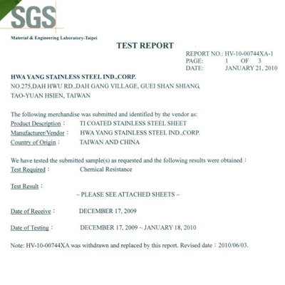SGS Ti-Coating: Chemical Resistance report