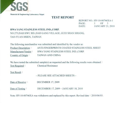 SGS AFP-Coating Chemical Resistance Test report
